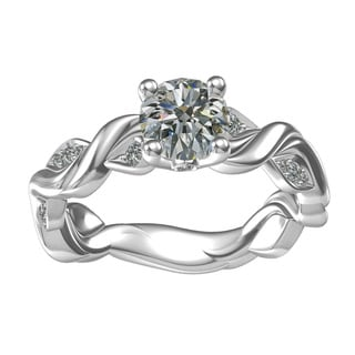 Sterling Silver 1-carat Center and 16, 0.14-carat Side Cubic Zirconia Engagement Ring