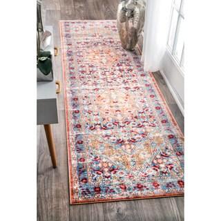 nuLOOM Traditional Vintage Inspired Floral Border Light Blue Runner Rug (2'6 x 8')