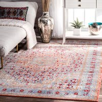 nuLOOM Traditional Vintage Inspired Floral Border Light Blue Rug - 5'3 x 7'7
