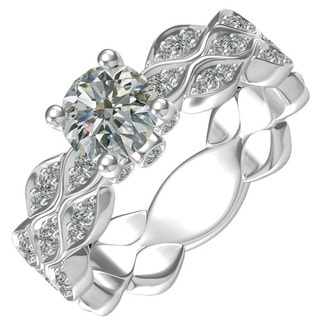 Sterling-silver 1-ct Round Center 48 0.47-tcw Side Cubic Zirconia Classic Engagement Ring