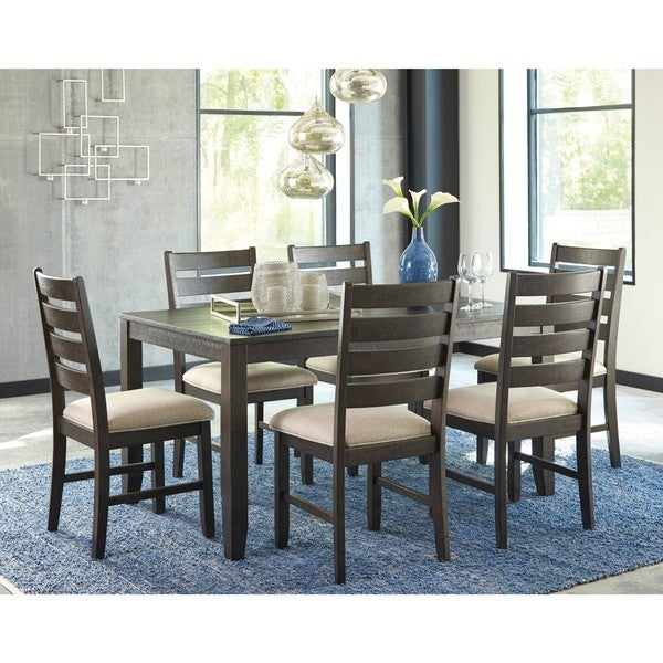 Signature Design by Ashley Rokane Brown 7-Piece Dining Room Table ...