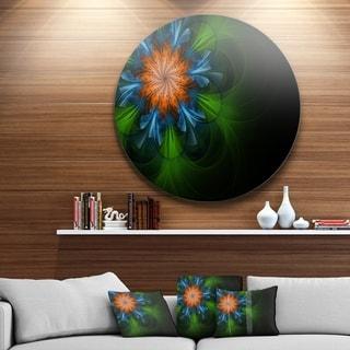 Designart 'Dark Green Fractal Flower in Black' Modern Floral Large Disc Metal Wall art