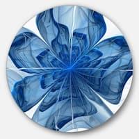 Designart 'Blue Fractal Flower with Petals' Modern Floral Round Wall Art