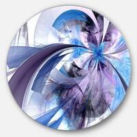 Designart 'Purple and Blue Symmetrical Fractal Flower' Modern Floral Disc Metal Wall Art