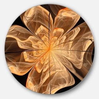 Designart 'Light Orange Symmetrical Fractal Flower' Modern Floral Disc Metal Artwork