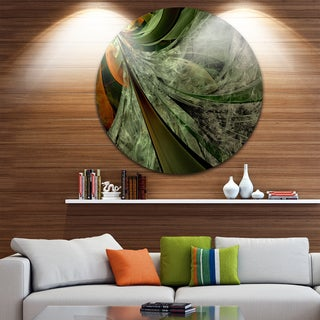 Designart 'Green and Yellow Glossy Fractal Flower' Modern Floral Large Disc Metal Wall art