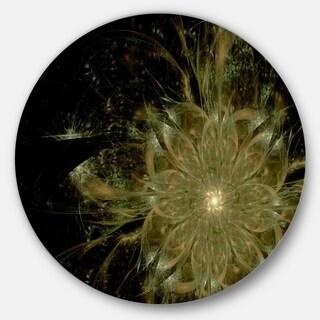 Designart 'Light Brown Symmetrical Fractal Flower' Modern Floral Round Wall Art