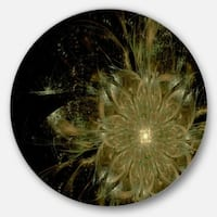 Designart 'Light Brown Symmetrical Fractal Flower' Modern Floral Round Wall Art