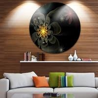 Designart 'Yellow Small Fractal Flower in Black' Modern Floral Disc Metal Wall Art
