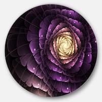 Designart 'Fractal Flower Light Purple Digital Art' Flower Round Wall Art