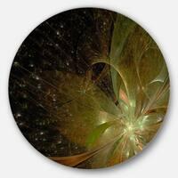 Designart 'Light Golden Symmetrical Fractal Flower' Modern Floral Round Metal Wall Art
