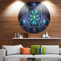 Designart 'Fractal Flower Blue Digital Art' Flower Circle Wall Art