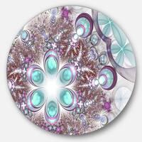 Designart 'Fractal Flower of Blue Digital Art' Flower Round Metal Wall Art