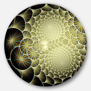 Designart 'Yellow Symmetrical Unique Fractal Design' Modern Floral Round Wall Art