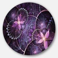 Designart 'Fractal Flower Soft Purple Digital Art' Flower Round Wall Art