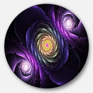 Designart 'Fractal Purple Flowers Digital Art' Flower Circle Wall Art