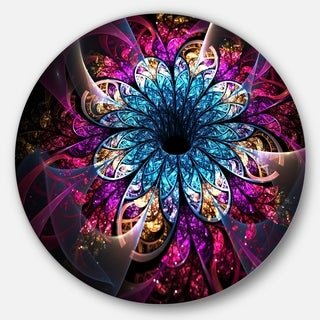 Designart 'Fractal Flower Blue Red Digital Art' Flower Disc Metal Wall Art