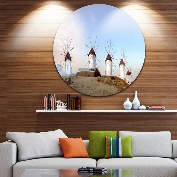 Designart 'Traditional Greek Windmills Panorama' Landscape Large Disc Metal Wall art
