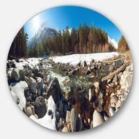 Designart 'Baskan Mountain River at Wintertime' Landscape Circle Wall Art