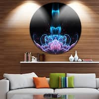 Designart 'Fractal Flower Blue Purple Digital Art' Floral Large Disc Metal Wall art