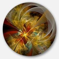 Designart 'Bright Yellow Symmetrical Flower Design' Modern Floral Disc Metal Wall Art