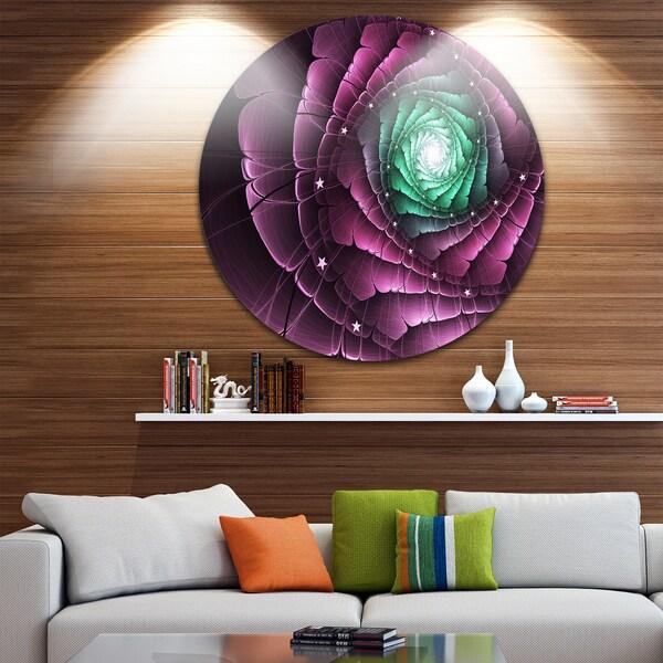 Designart 'Fractal Flower Green Purple Digital Art' Floral Circle Wall Art