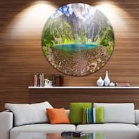 Designart 'Tatra Mountains Lake Panoramic View' Landscape Disc Metal Wall Art
