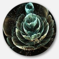 Designart 'Fractal Flower Light Green Digital Art' Floral Round Metal Wall Art