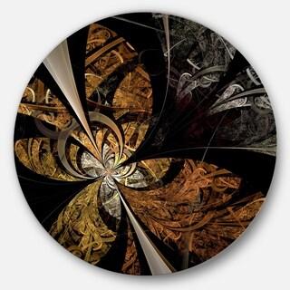 Designart 'Symmetrical Brown Fractal Flower' Modern Floral Disc Metal Wall Art