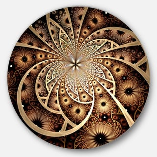 Designart 'Symmetrical Brown Black Fractal Flower' Modern Floral Circle Wall Art