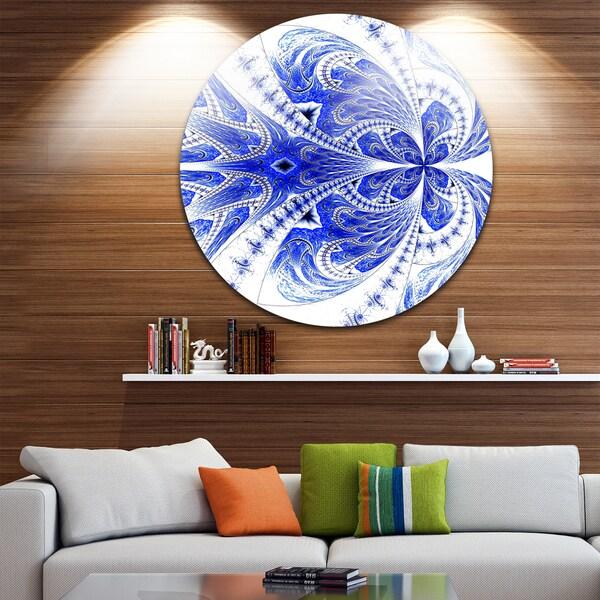 Designart 'Symmetrical Soft Blue Fractal Flower' Modern Floral Round Metal Wall Art