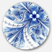 Designart 'Symmetrical Ideal Blue Fractal Flower' Modern Floral Round Wall Art