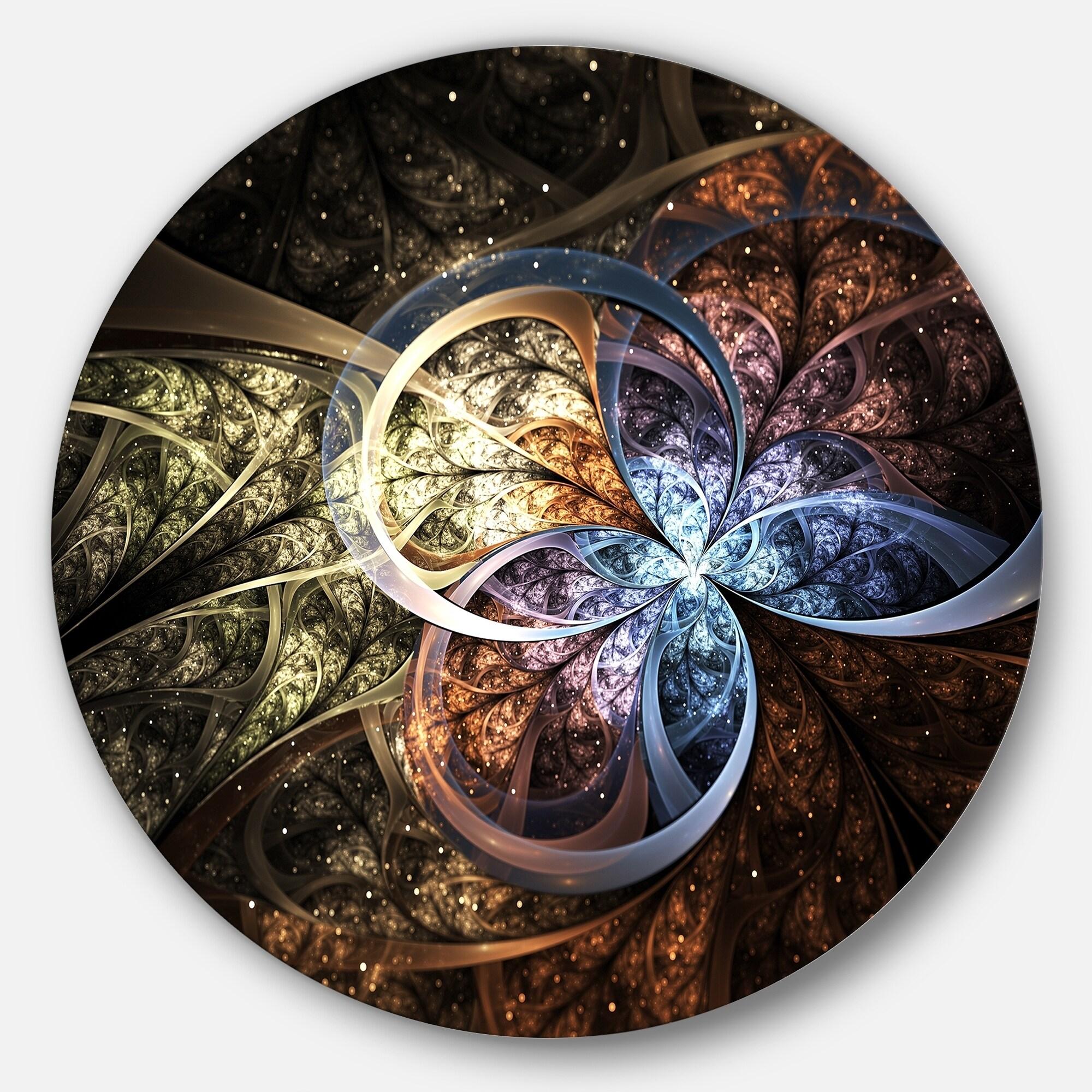 Designart Dark Brown Fractal Flower Digital Art Floral Circle Wall Art Overstock 14249262