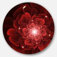 Designart 'Fractal Flower Clear Red Digital Art' Floral Round Wall Art