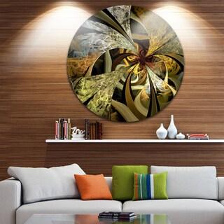 Designart 'Symmetrical White Golden Fractal Flower' Floral Large Disc Metal Wall art