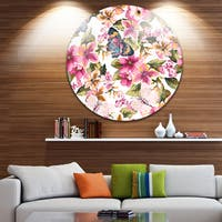 Designart 'Butterflies with Seamless Floral Pattern' Floral Round Metal Wall Art