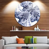 Designart 'Symmetrical Tight Blue Fractal Flower' Floral Round Wall Art