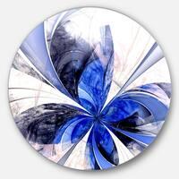 Designart 'Symmetrical Bright Blue Fractal Flower' Floral Disc Metal Wall Art