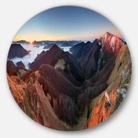 Designart 'Red Mountain Sunset Panorama' Landscape Disc Metal Artwork