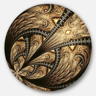 Designart 'Symmetrical Brown Fractal Flower' Floral Disc Metal Artwork