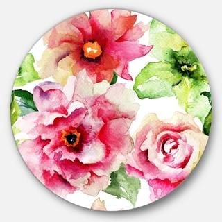 Designart 'Roses and Gerber Flowers Watercolor' Floral Round Metal Wall Art