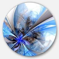 Designart 'Symmetrical Blue Fractal Flower' Floral Large Circle Metal Wall art