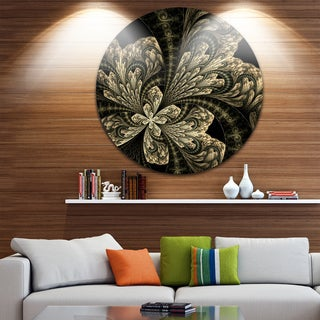 Designart 'Symmetrical Brown Fractal Flower' Floral Round Wall Art