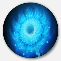 Designart 'Glowing Blue Fractal Flower on Black' Floral Circle Wall Art