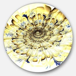 Designart 'Light Yellow Digital Art Fractal Flower' Floral Round Metal Wall Art