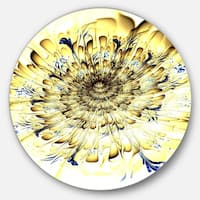 Designart 'Light Yellow Digital Art Fractal Flower' Floral Round Metal Wall Art