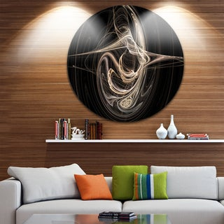 Designart 'White Abstract Fractal Design in Black' Abstract Large Disc Metal Wall art
