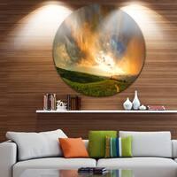 Designart 'Majestic Sunset with Storm Clouds' Landscape Disc Metal Artwork