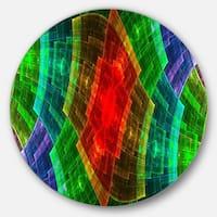 Designart 'Multi-Color Psychedelic Fractal Metal Grid' Abstract Disc Metal Artwork