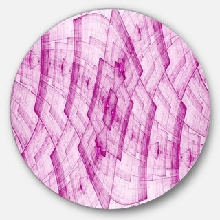 Designart 'Light Pink Psychedelic Fractal Metal Grid' Abstract Circle Wall Art